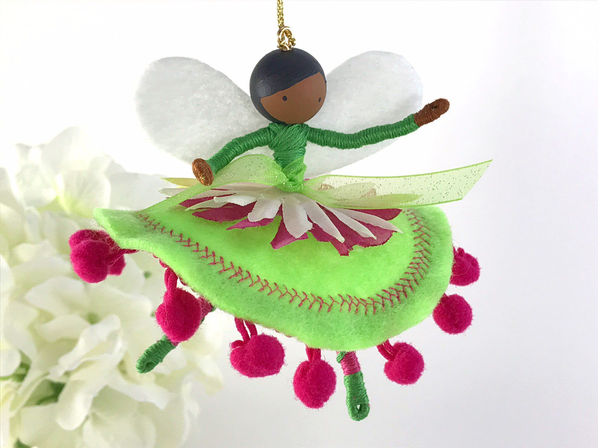 Personalized Flower Fairy African American Ornament