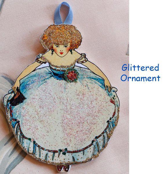 Glittered Ornament Blonde Art Deco Girl in Big Skirt Glittered Ornament by ToysInTheCloset
