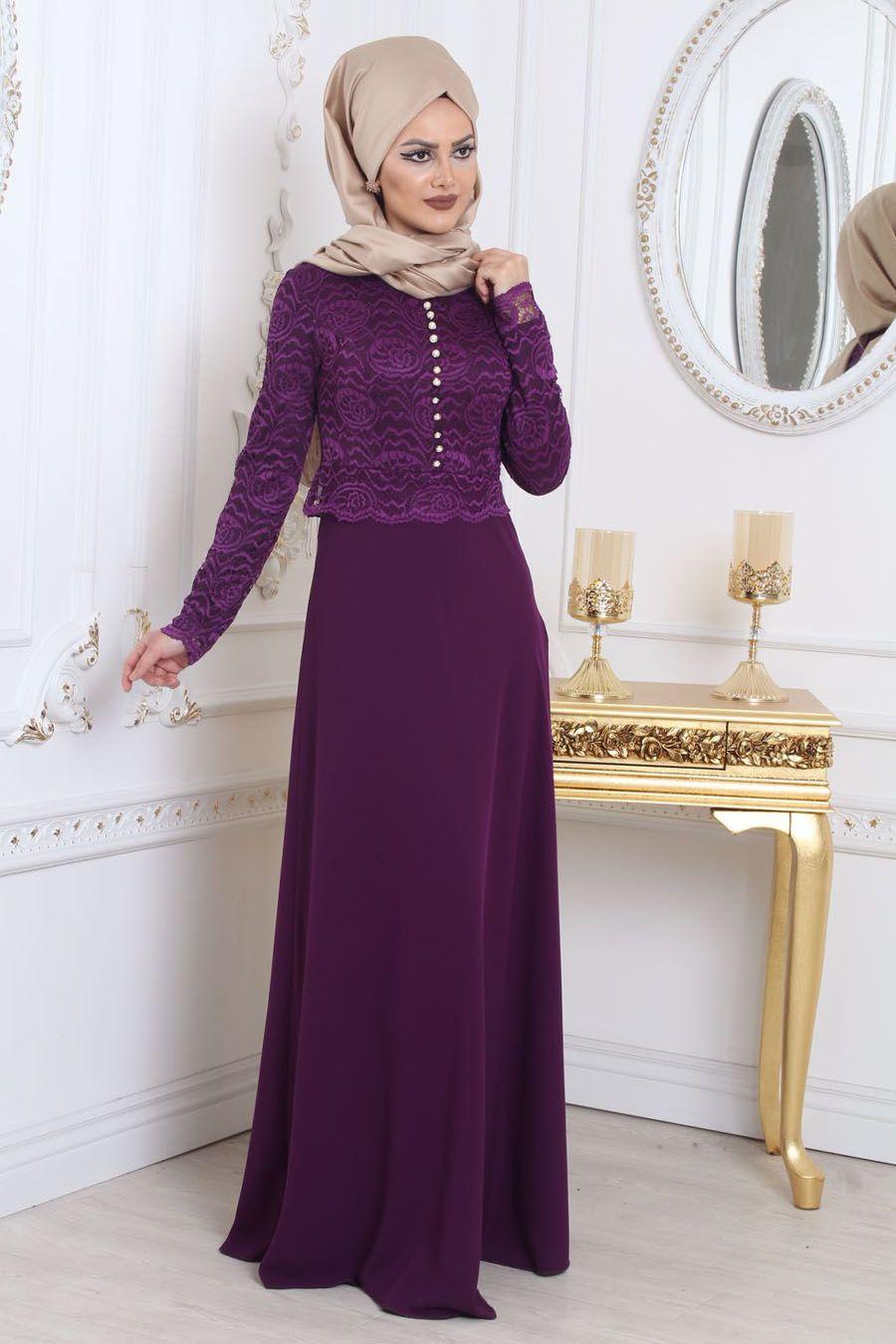 8a3af980b1e8f Tesettürlü Abiye Elbise - Üzeri Dantelli Mor Tesettür Abiye Elbise 78590MOR  #tesetturisland #tesettur #