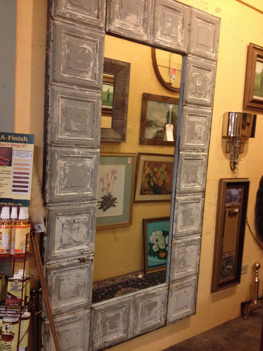 Large tin ceiling tile mirror upcycling reduce reuse recycle large tin ceiling tile mirror dailygadgetfo Images