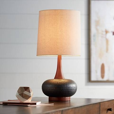 Andi mid century ceramic and wood table lamp 9h566 lamps plus
