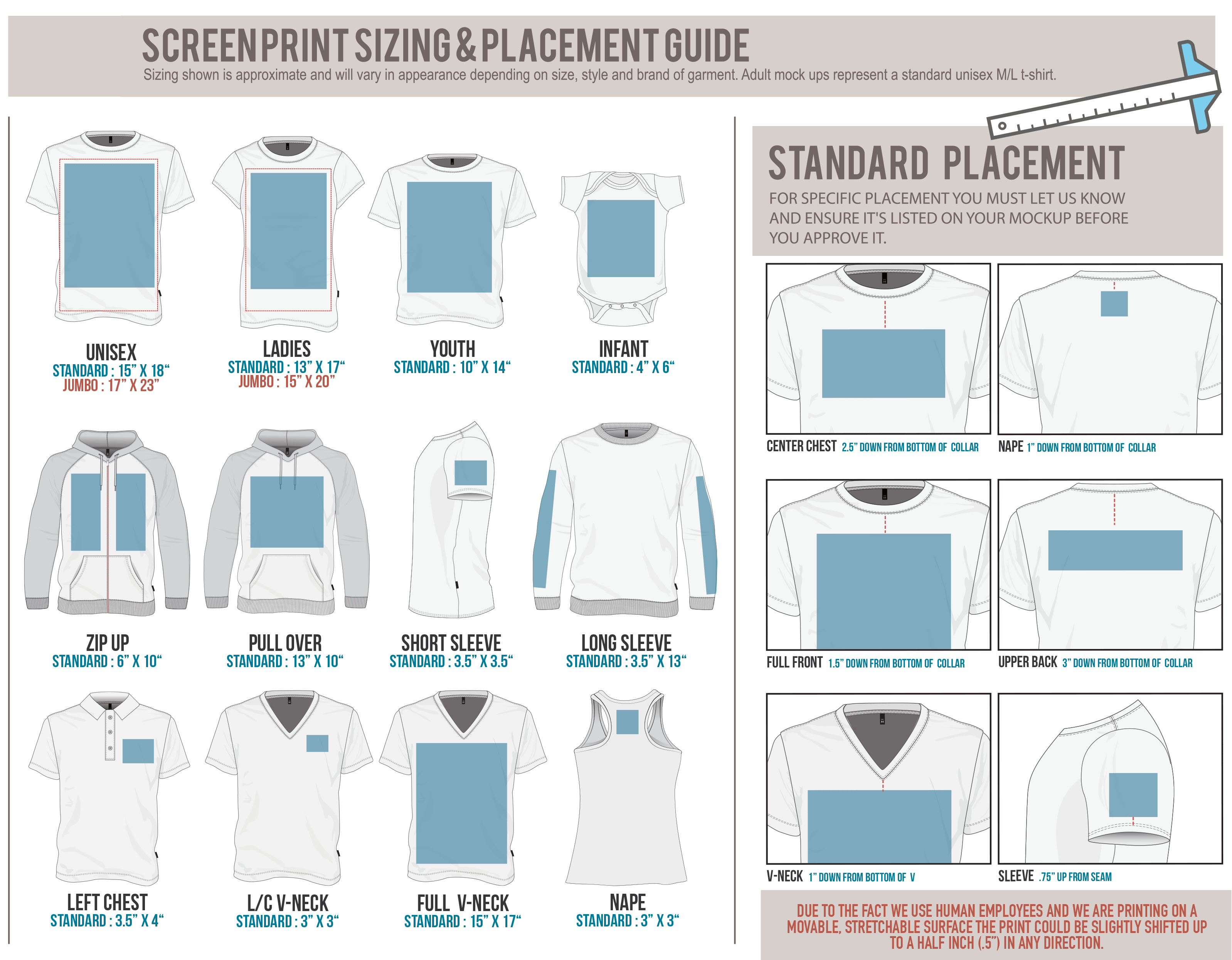 custom screen printing placement guide Screen printing