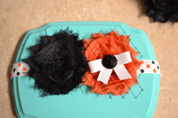 Halloween polka dot band with double shabby flower  on Etsy, $8.50