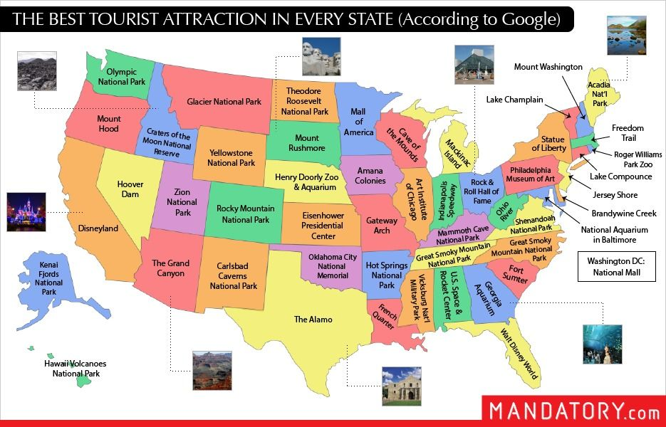 The Best Tourist Attraction In Every State According To Google