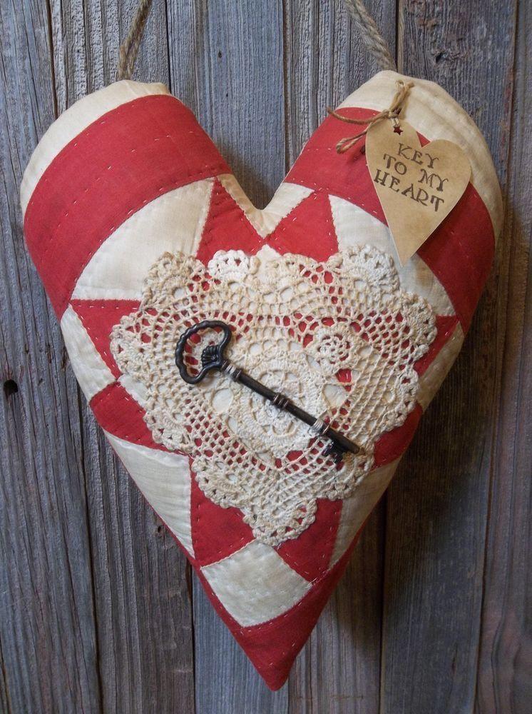 primitive antique cutter quilt heart door greeterpeg hanger winter valentines try with 9 patch block - Vintage Valentine Decorations