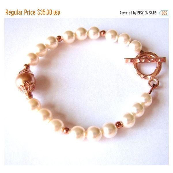 SALE Swarovski Cream Rose Pearl Bracelet Rose Gold Pearl Bracelet