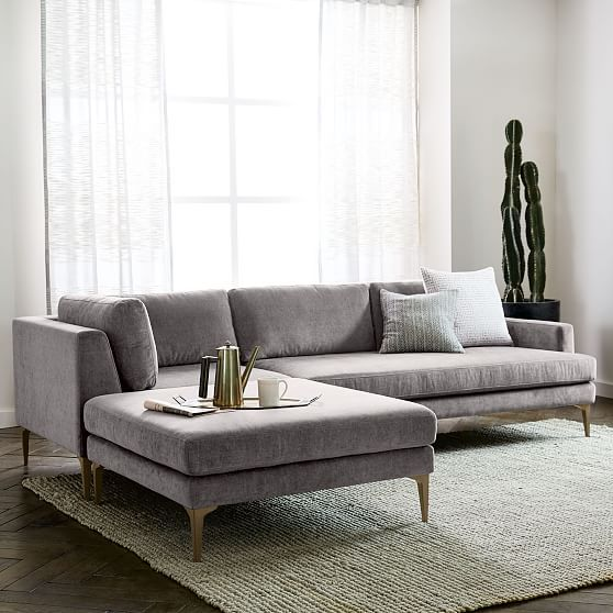 Andes 3 Piece Chaise Sectional Living great room Pinterest