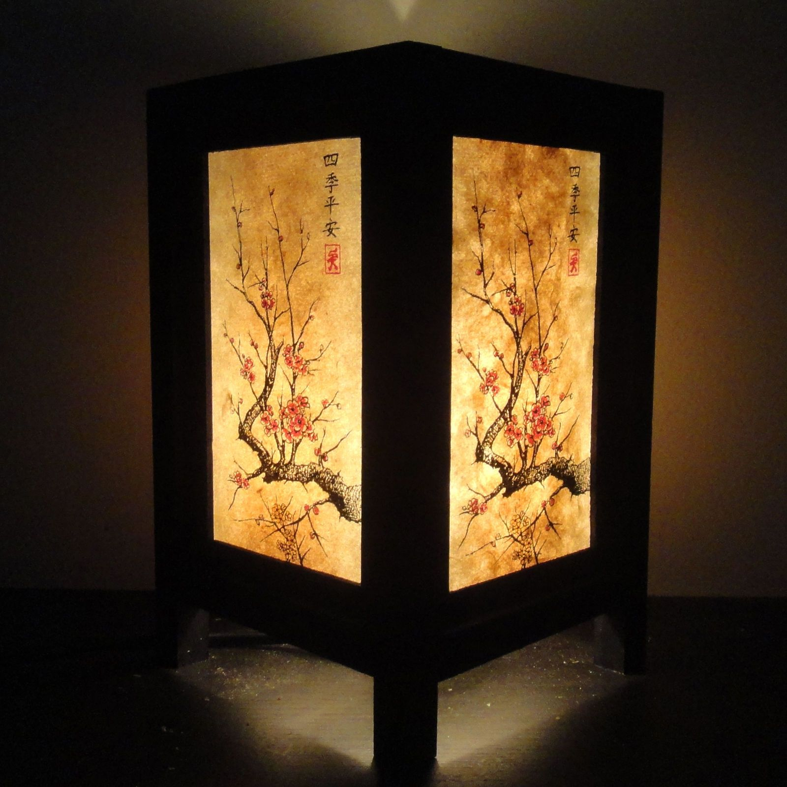 Asian Oriental Japanese Cherry Blossom Tree Art Bedside Desk Table Lamp Shades Bedside Table Lamps Wood Oriental Lamp Asian Home Decor