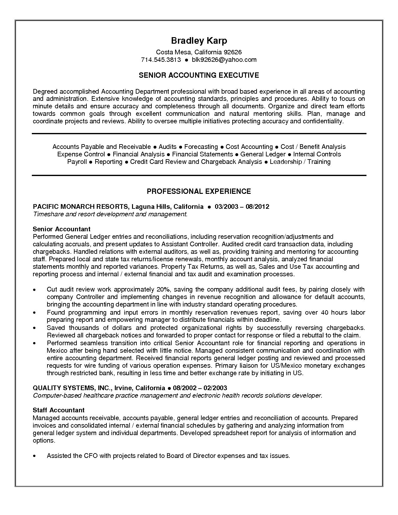 Accounting Resume Sales Accountant Lewesmr Samples Internship