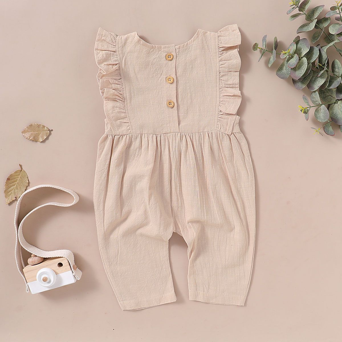 Amanod 2018 Newborn Baby Girl Solid Ruffles Sleeveles Romper Solid Playsuit Clothes Outfits