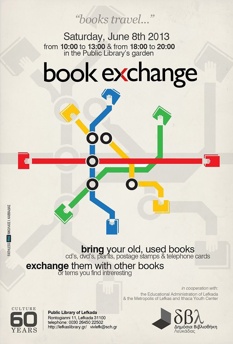 book exchange poster for non-profits fb.com/fnk.creative | FNK ... for Creative Event Posters  56mzq