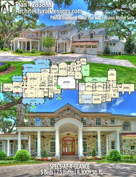 Architectural designs house plan mj br ba sq ft ready when you are where do want to build also palatial traditional home with fabulous master rh pinterest