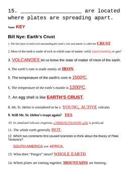 Bill Nye Earth S Crust Worksheet Bill Nye Nye Worksheets