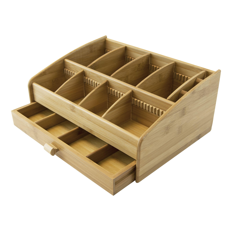 Le Chef Bamboo Storage Organizer WA Tea Organizer Brown - Cosmetic makeup organizer wood countertop organizer by lessandmore