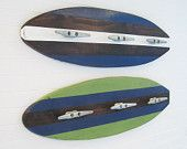 Green and Blue Large Wood Surfboard Coat Rack.