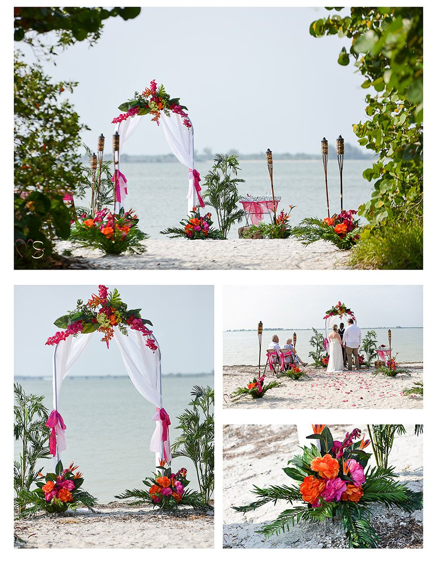 Tropical Beach wedding round arch and tiki torches   Beach Wedding ...