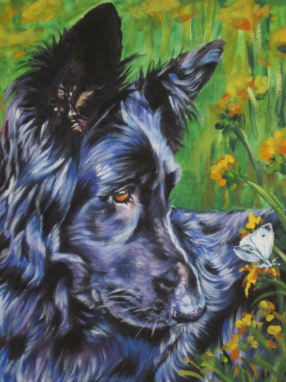 long hair black German Shepherd dog art CANVAS by TheDogLover, $39.99