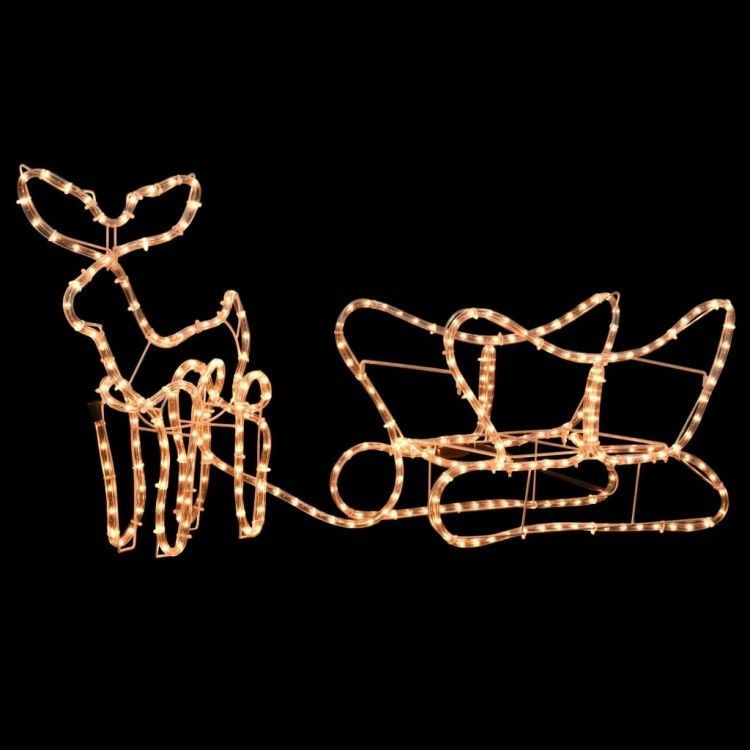 details about christmas light display reindeer and sleigh festive