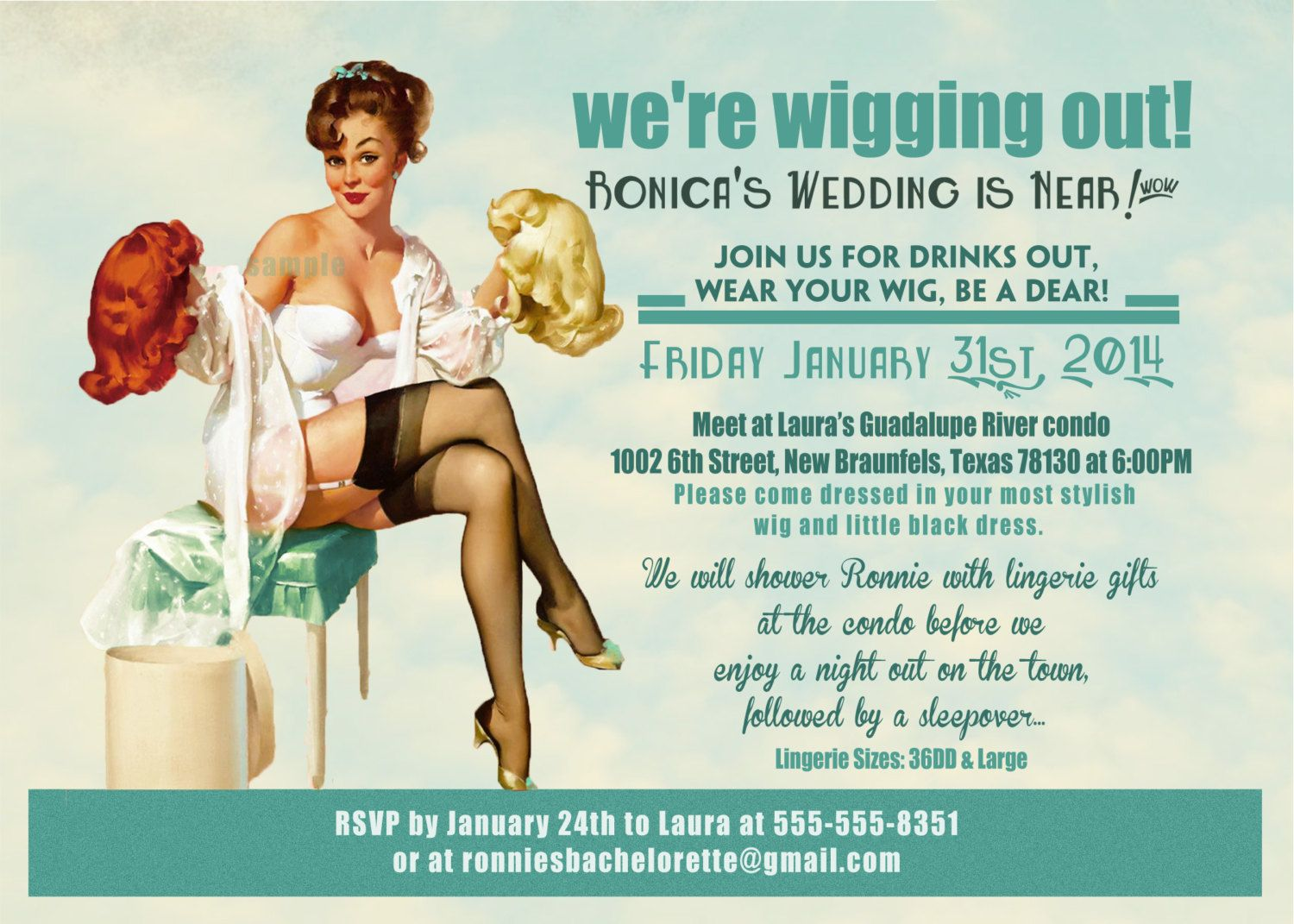 Vintage Pin Up Girl wig party Invitation by InvitingParties ...