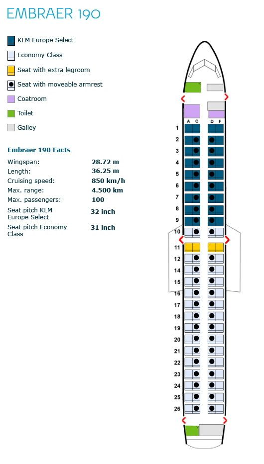 Klm Royal Dutch Airlines Embraer Erj 190 Aircraft Seating Chart Klm Royal Dutch Airlines Klm Airlines Airlines