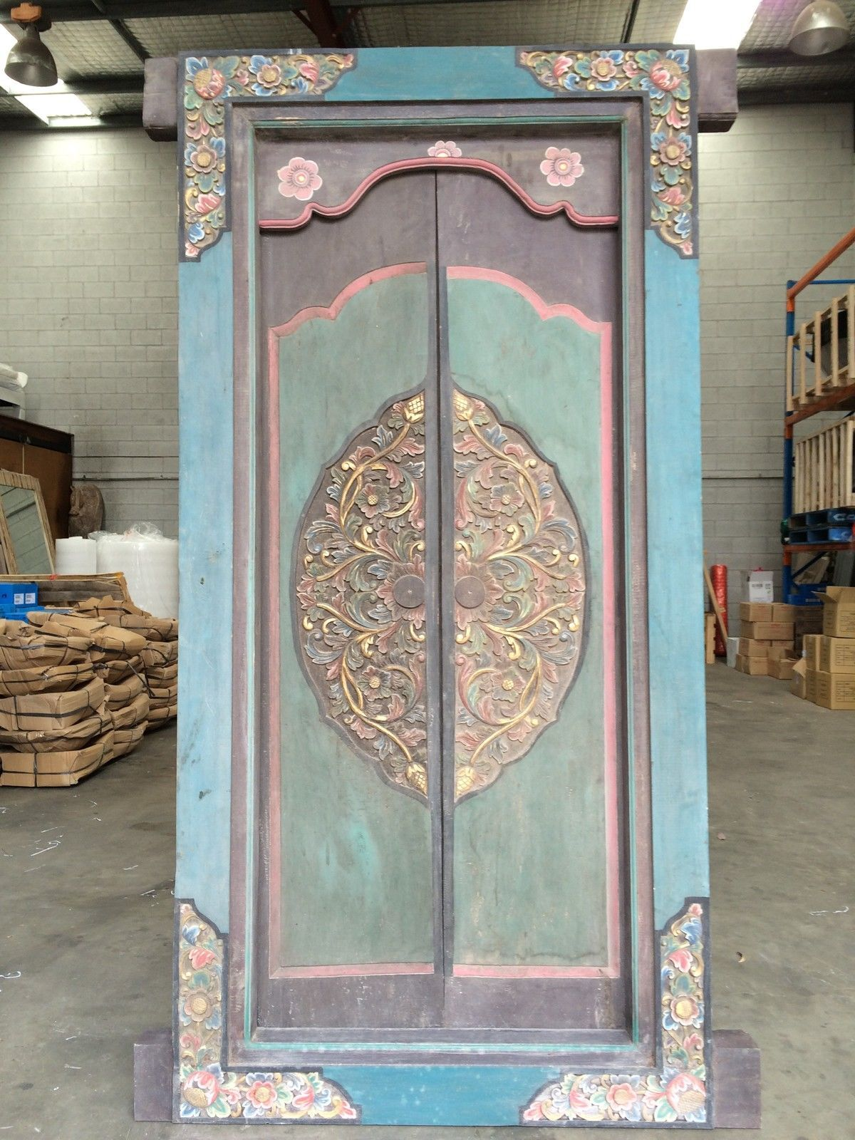 Large Balinese Doors Hand Carved Blue Green in NSW | eBay & Large Balinese Doors Hand Carved Blue Green in NSW | eBay | balinese ...