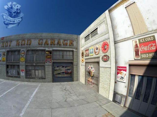 PAPERMAU: Hot Rod Garage Diorama Paper Model In 1/64 Scale - by HW