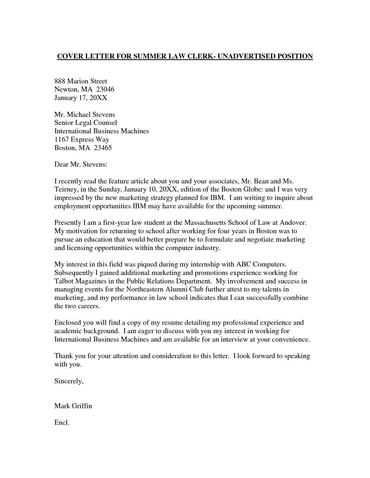 Cover Letter Internship Contoh