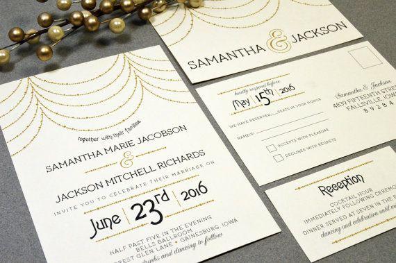Hanging Lights Wedding Invitations Roaring Twenties Invite Set Gold And Black Pocket Suite Rsvp Postcard Art