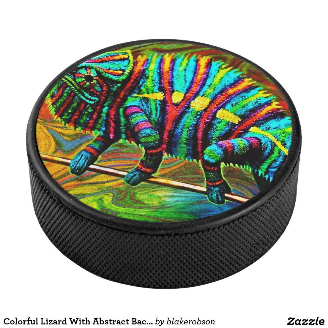 Colorful Lizard With Abstract Background Hockey Puck
