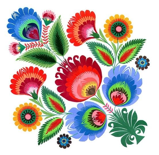 Polish Folk Art // Beautifully colourful design // I have a nostalgic affection for European folk art. I enjoy original pieces as well as designs inspired by original works.