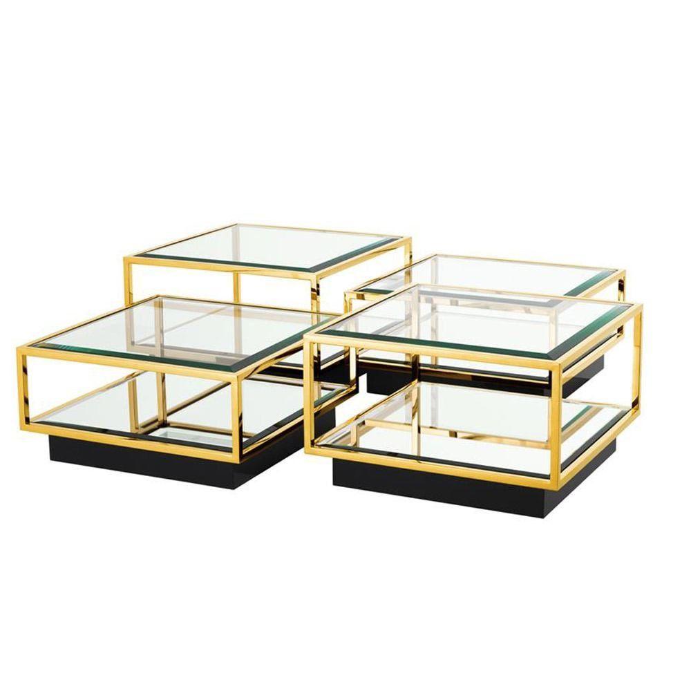 Eichholtz Tortona Coffee Table Gold Finish Set Of 4 Set Of 4