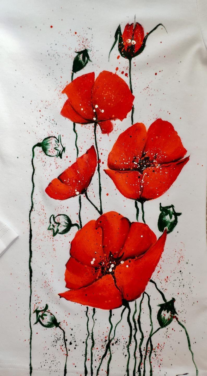 Handpainted T Shirt Poppies T Shirt Hand Painted Shirts Women S Tees T Shirts Hand Painted Clothing Hand Painted Tee Summer Red Poppies In 2020 Deko