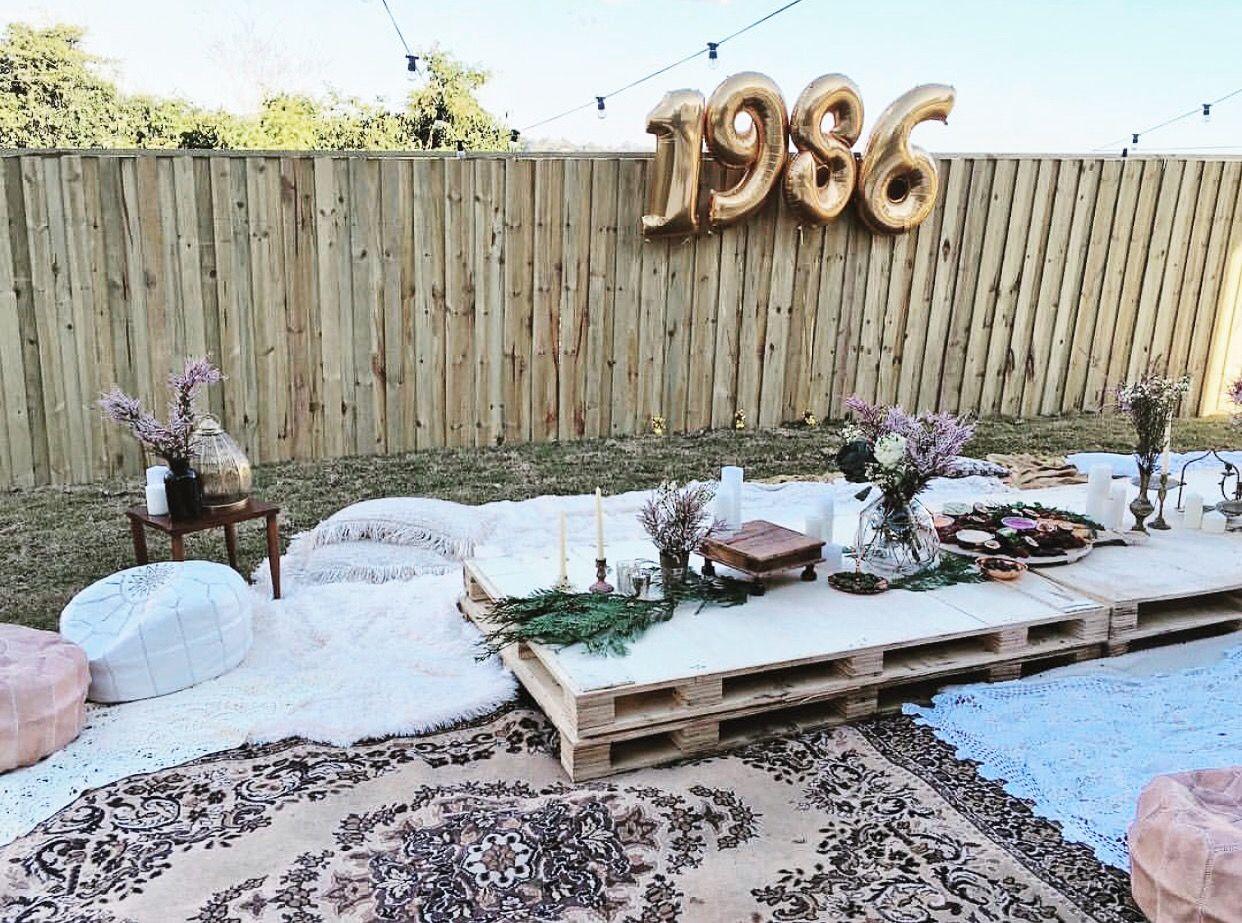 Covenandco Backyard Birthday Party Boho Bohemian Inspiration Pallet Floor Tables 30th Bridal Hens Baby Shower