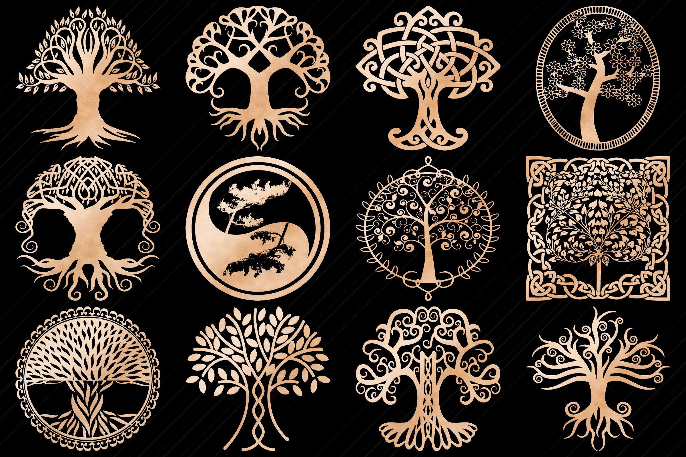 Rose Gold Tree Of Life Clip Art Gold Tree Digital Graphic Design Clip Art