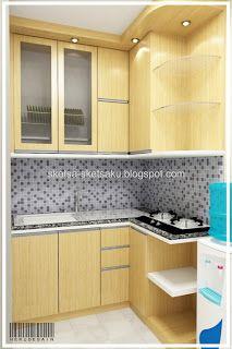 konsep kitchen yang berada di sudut rungan, simple rapi, sebagai pemanfaatan ruang terbatas