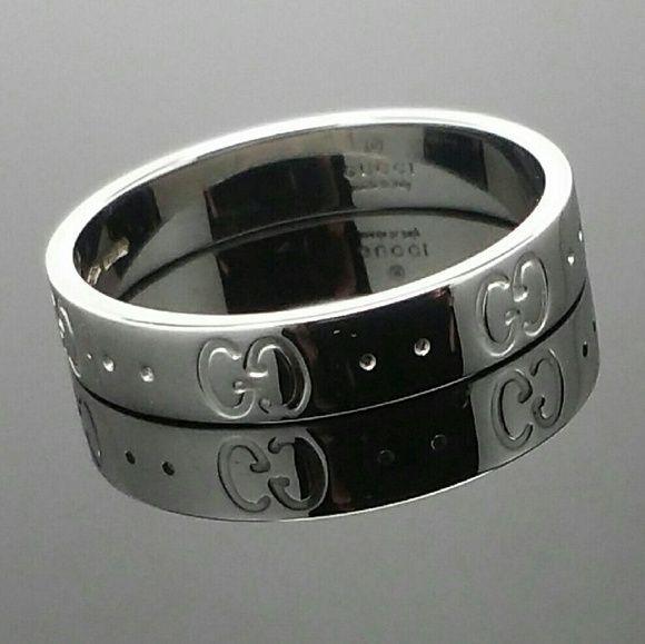0054410e0e GUCCI Icon Ring 18k WhiteGold IMMACULATE EU57 US8 Authentic GUCCI ...