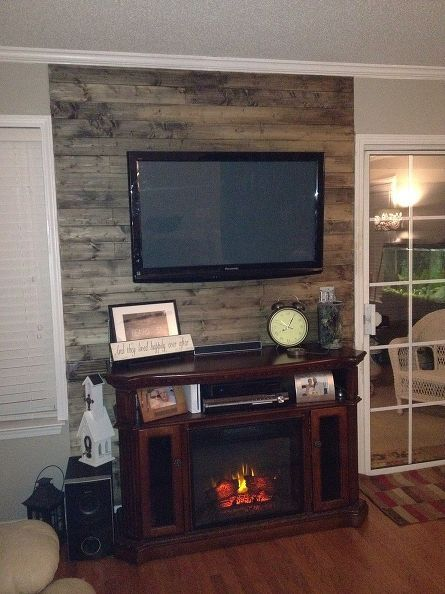 From Our Boring Wall To Our Wood Planked Wow Wall Accent Walls In Living Room Wood Accent Wall Tv Wall Decor