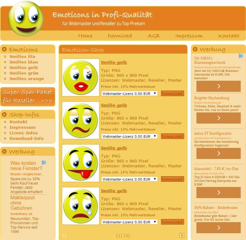 Bieten Sie Ihren Kunden hochwertige Emoticons an. Sie erhalten mit diesem Projekt einen fertig eingerichteten Download-Shop, Sie müssen sich um nichts kümmern. Ausgabe mit Demoserver.