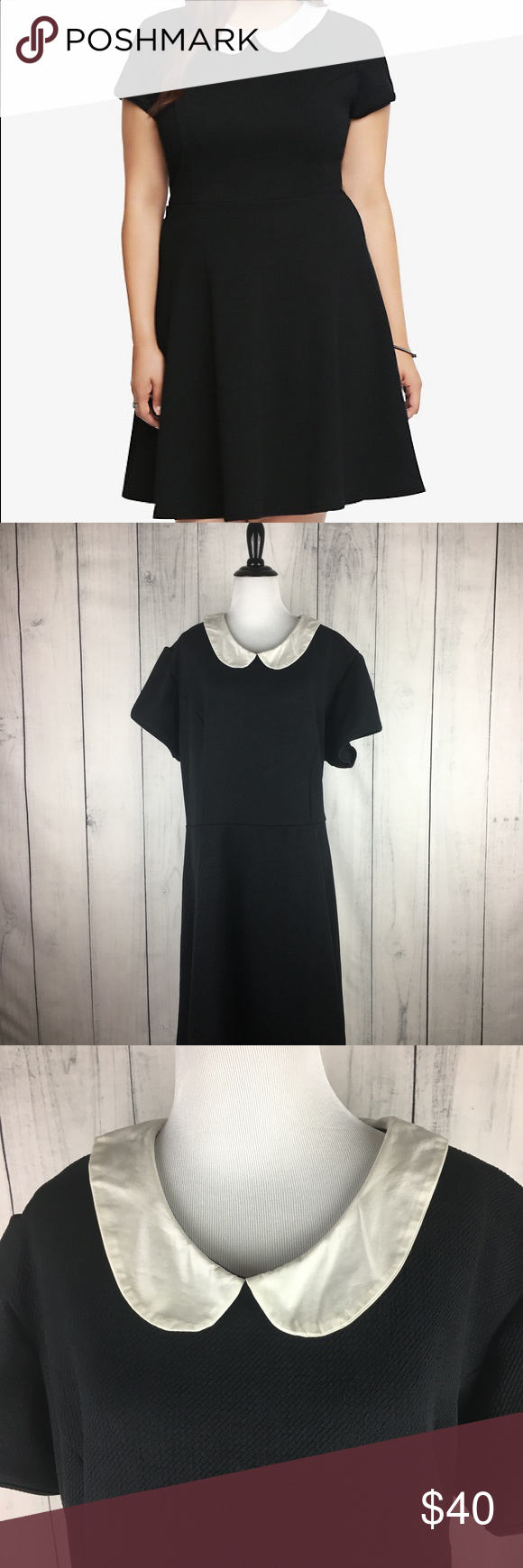Torrid Textured Black Peter Pan Skater Dress 4 Torrid Textured Black Peter Pan Skater Dress size 4. Excellent condition. Tag untacked on one side as photo'd. torrid Dresses
