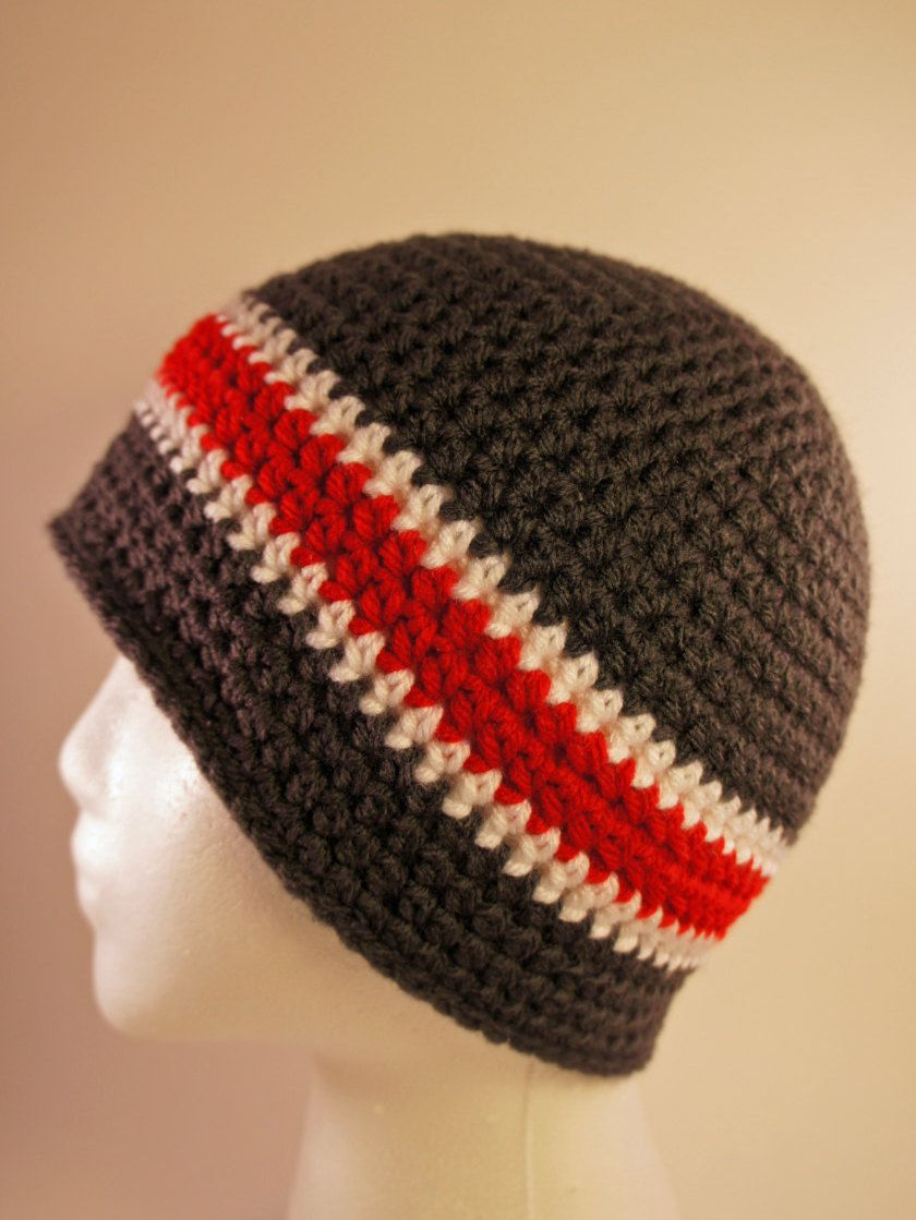 527b093ac0e Crochet Dark Grey Red and White Beanie Mens Womens Teen Infant Baby Toddler  Children Kids Boy Girl Skull Beanie Cap Hats by AxtellsCreations on Etsy
