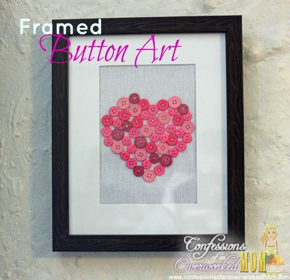 Framed Button Art - Simple home decorating ideas - http://ideasforho ...