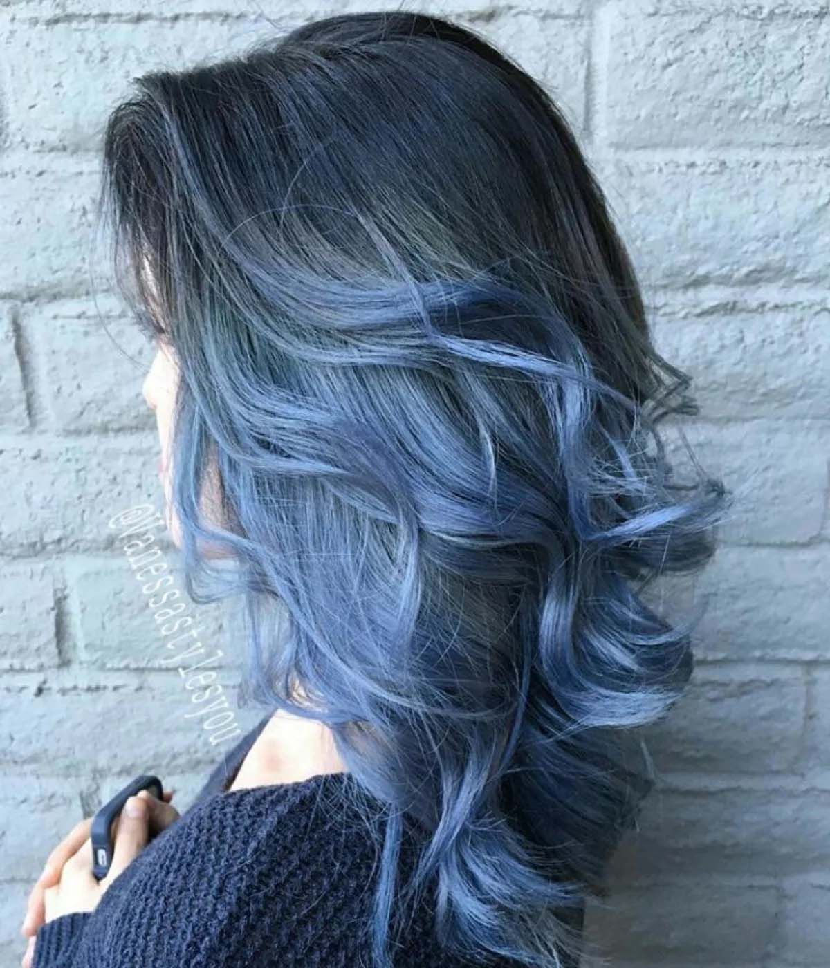 Stunning Blue Color With Dark Roots Hair Styles Blue Ombre Hair Black Wavy Hair