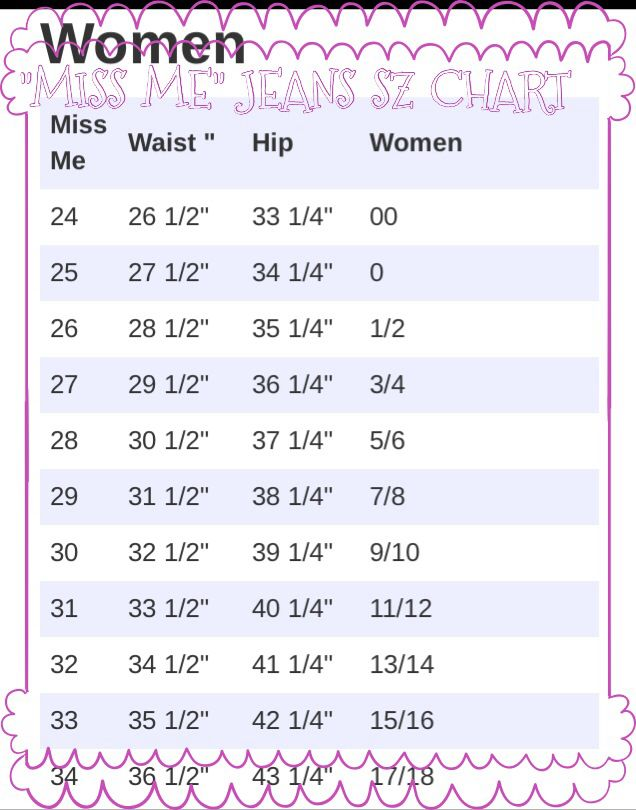 Miss Me Jeans sz chart also see why I can pinterest ...