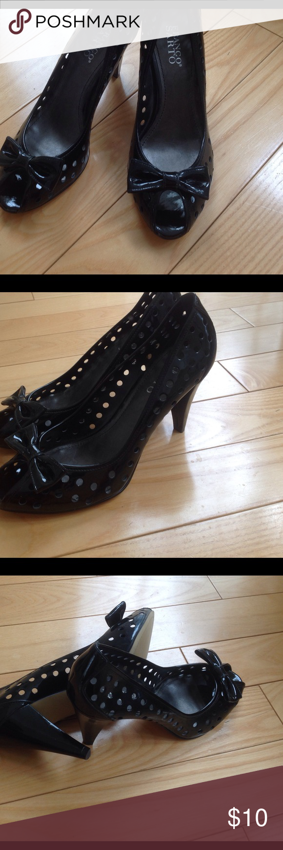 "Peep toe black pumps size 10.5 Black peep toe patent leather peep toe spring beauties with bow detail and circle cut outs-just perfect!  2.5"" heel, perfect condition, no scuffs at all. Franco Sarto Shoes Heels"