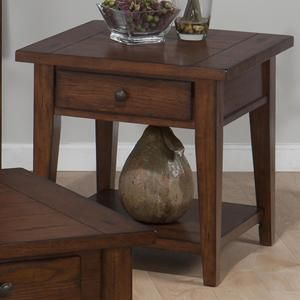 Clay County Square End Table With Drawer In Oak Nebraska Furniture Mart 24x24x24 169 99