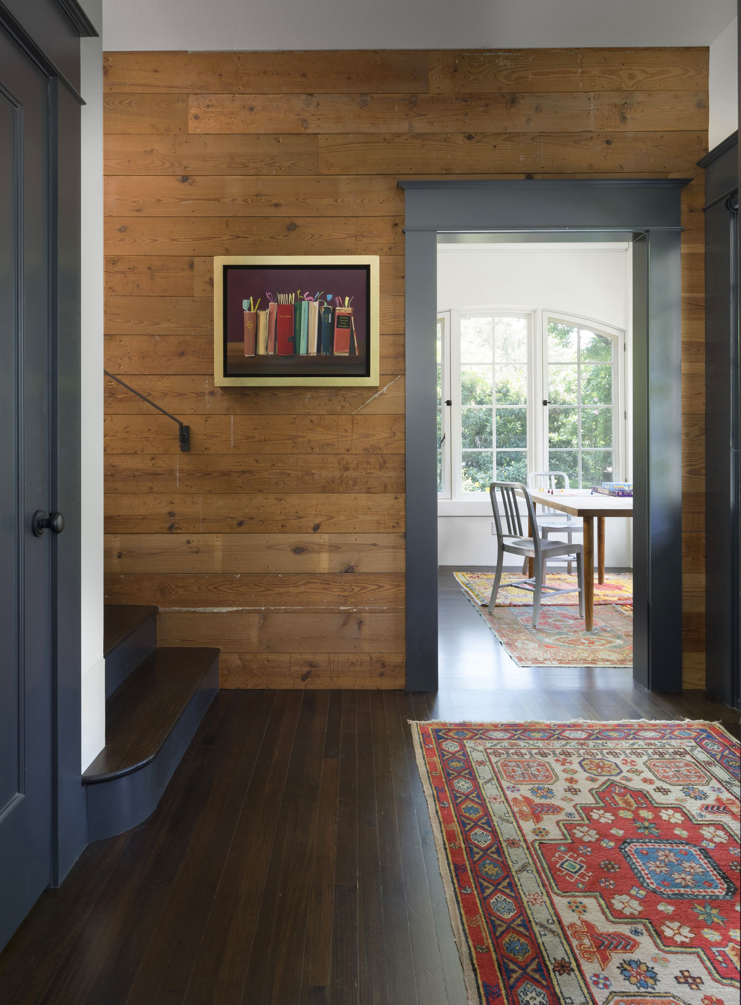 Original long leaf pine planks and flooring  Wood paneling living