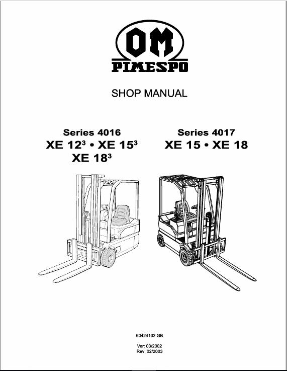 OM Pimespo XE12, XE15 and XE18 Series 4016 , 4017 Forklift