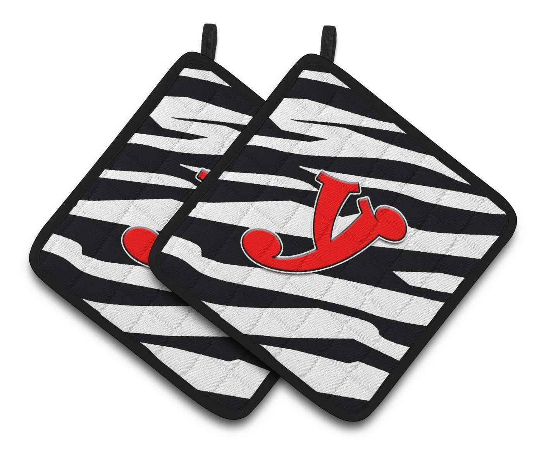 Monogram Initial Y Zebra Red Pair of Pot Holders CJ1024-YPTHD