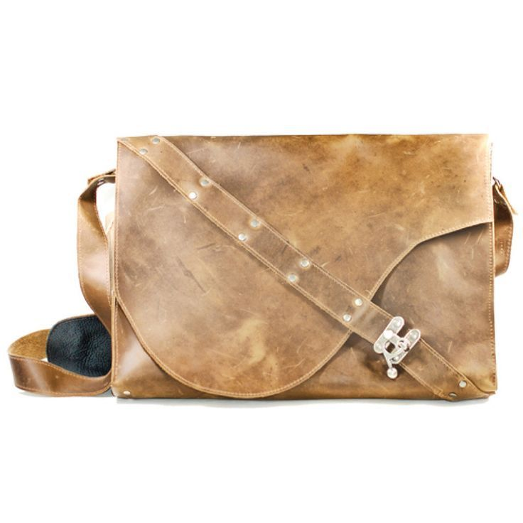 Slim made-in-Canada leather messenger from Oak Roads, with unique diagonal closure - Pin now, Buy later!