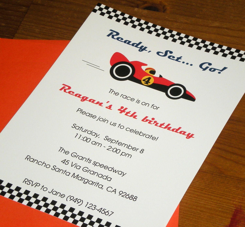 Race car : birthday party invitations - Set of 12 | Pinterest | Race ...